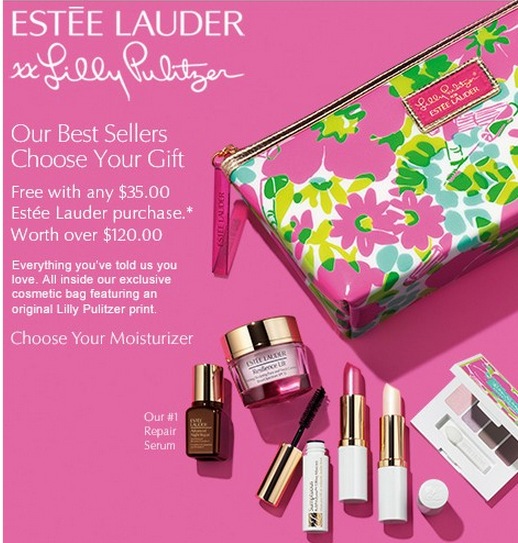 Estee Lauder Gift With Purchase offer are best at Macy's, where the brand is offering a free four piece Estee Lauder GWP with any purchase of $55 or more. An Estee Lauder Perfect Match Double Wear Makeup Kit is also available for only $10 with any Estee Lauder Double Wear Foundation Purchase.