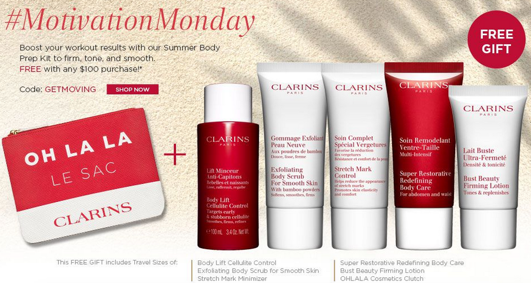 Clarins gift with purchase - 6 pcs with $100 purchase + 15