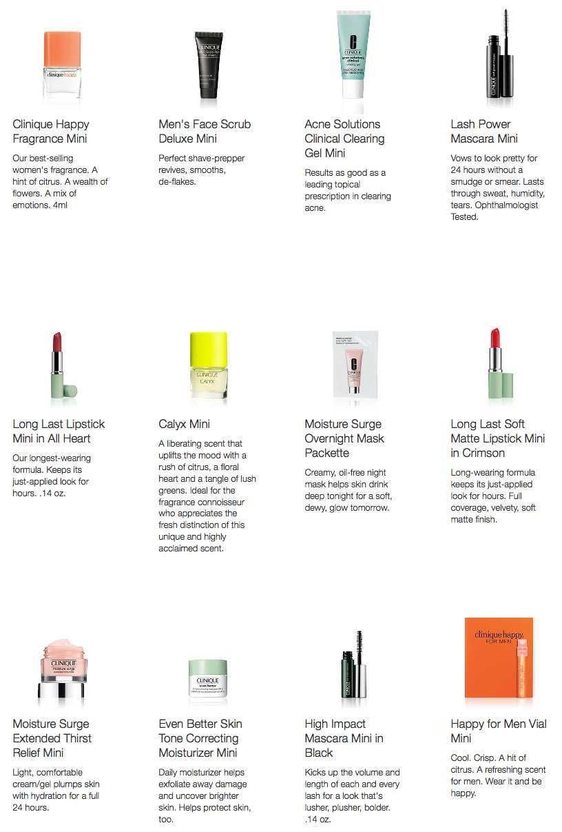 Clinique FREE 5 minis + free shipping on any order - today only - Gift With Purchase