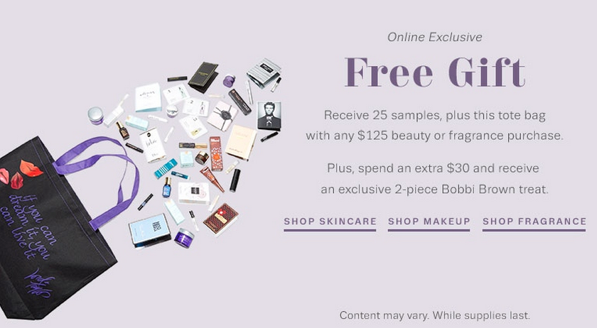 Lord and Taylor 25 samples filled beauty bag with $125 beauty purchase and more - Gift With Purchase
