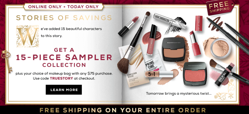 bareMinerals gift with purchase - 16 pcs with $75 purchase