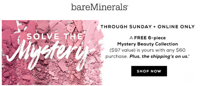 bareMinerals gift with purchase - free 6 pcs with $60 purchase($97 value) - Gift With Purchase