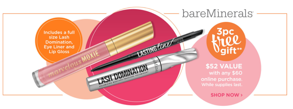Ulta.com: Flash Sale + 3 pcs bareMineral gift with $50 purchase + ...