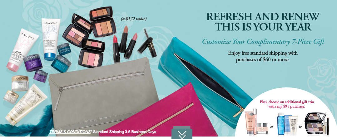 Lancome gift with purchase - 7 pcs with $60 purchase + 4 pcs w/$49 ...