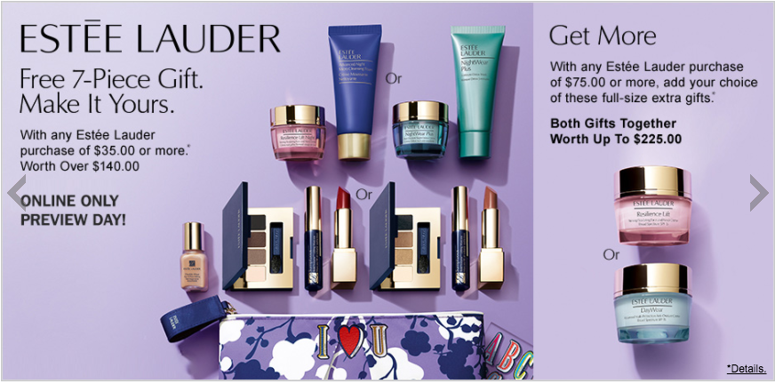 Estee Lauder gift with purchase - 7 pcs with $35 purchase + more - Gift With Purchase