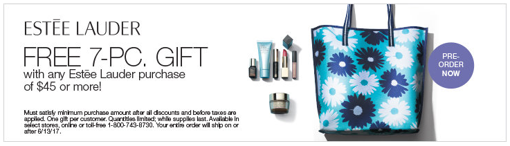 Stage Store: Free 7 pcs gift w/$45 Estee Lauder purchase + $10 off $50 fragrance purchase - Gift With Purchase
