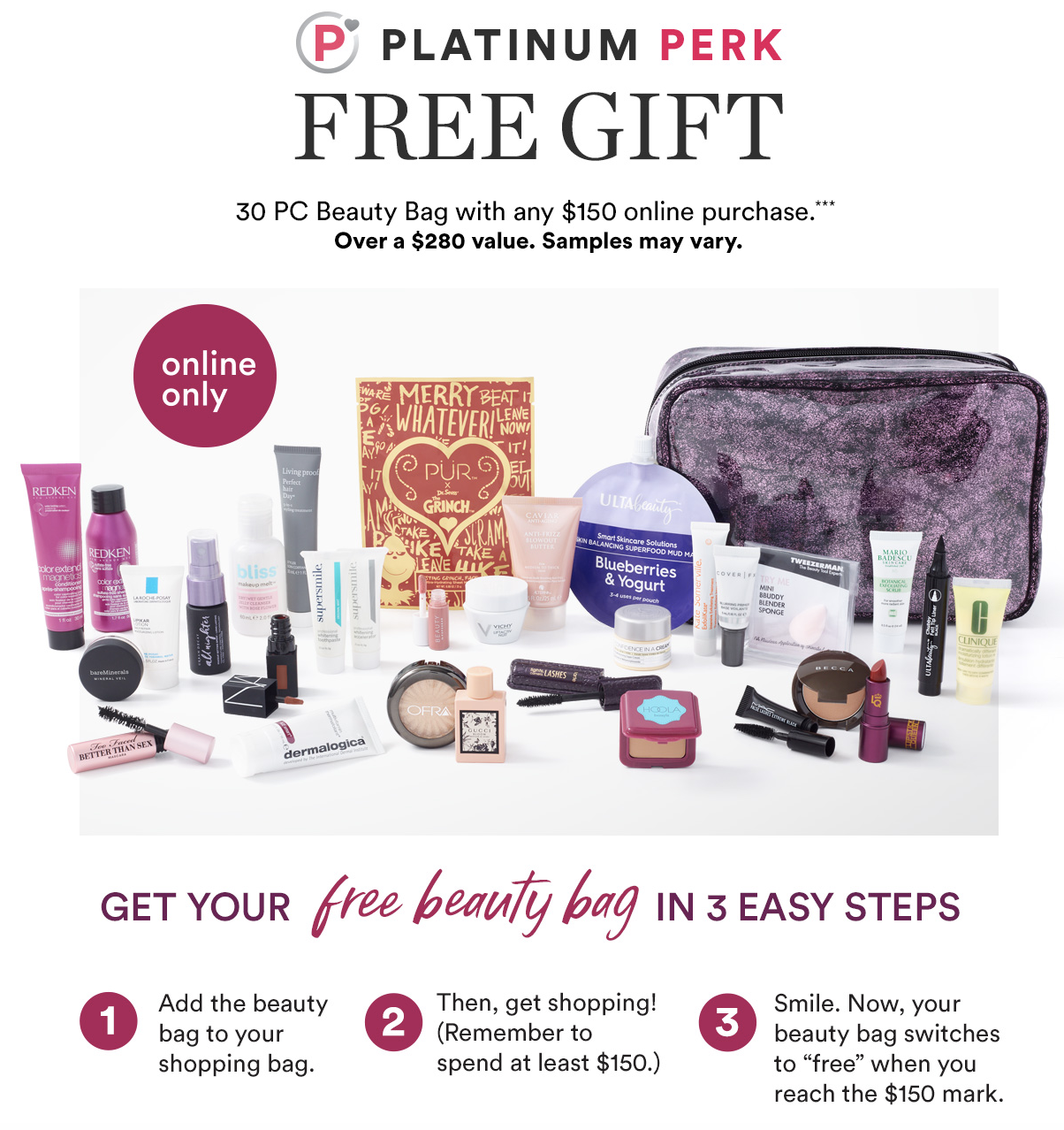 Ulta Platinum Perk Free 30 Pcs Beauty Bag W 150 Purchase